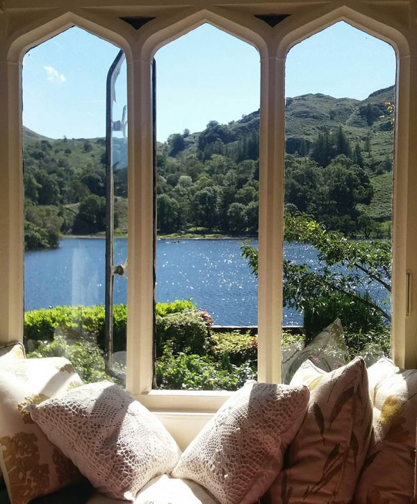 View through window over Rydal Water